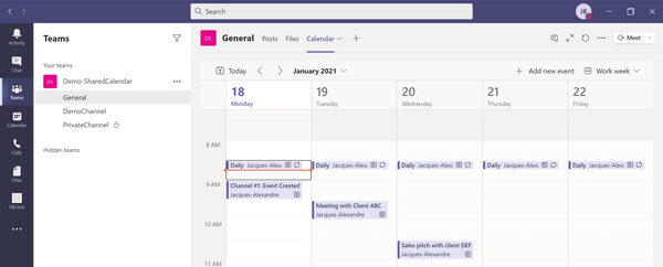 Shared Calendars in Microsoft Teams